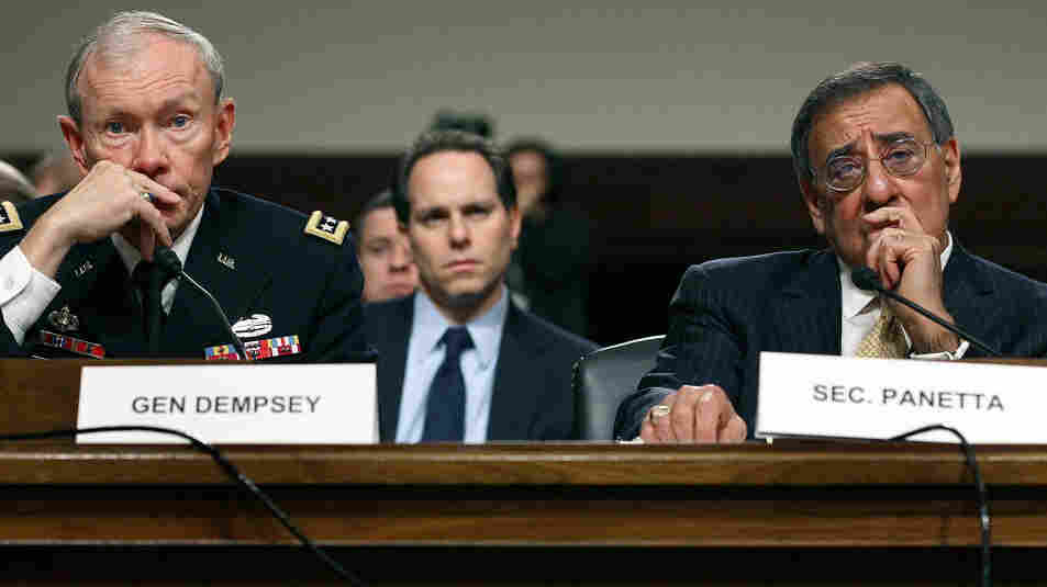 Defense Secretary Leon Panetta (right) and Chairman of the Joint Chiefs of Staff Gen. Martin Dempsey listen to questions during a Senate Armed Services Committee hearing on Capitol Hill Tuesday. Both men spoke about the U.S. military shifting its focus to Asia.