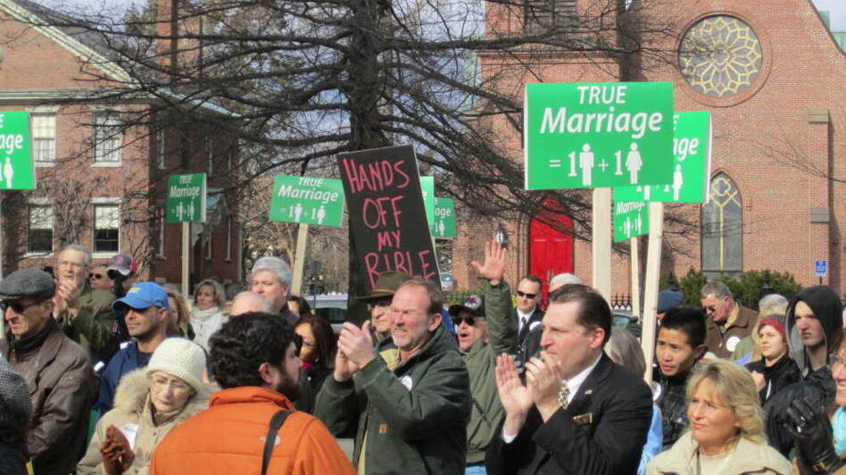 Activists against same-sex marriage demonstrate at the New Hampshire Statehouse last week. A Republican state representative has introduced a bill that would repeal the law legalizing same-sex marriage in the state.