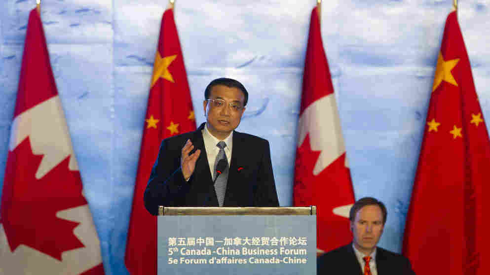 Chinese Vice Premier Li Keqiang, shown here delivering a speech at a Canada-China business forum in Beijing, on Feb. 9, 2012, is expected to become the country's next premier. In contrast to most other Chinese leaders, Li speaks English and has had considerable exposure to Western ideas.