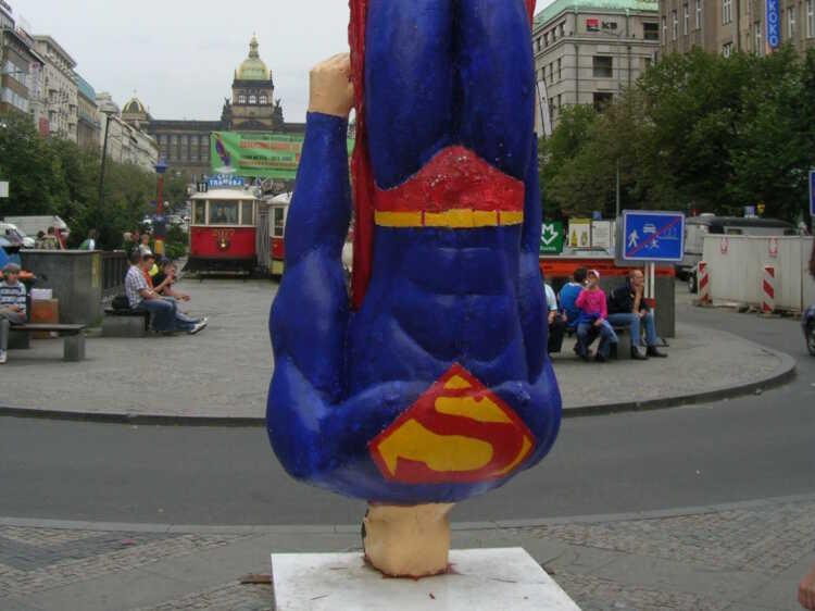 Superman crashlands in Wenceslas Square, Prague, Czech Republic.
