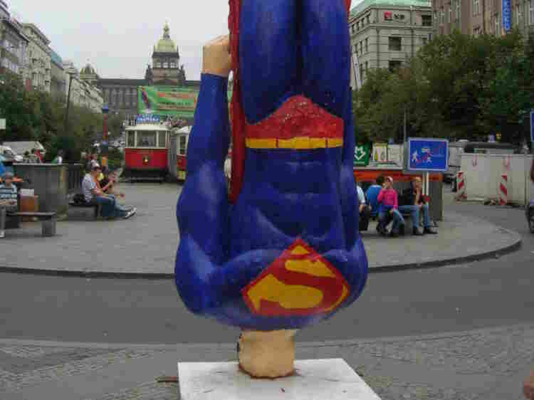 Superman crashlands in Wenceslas Square, Prague, Czech Republic.