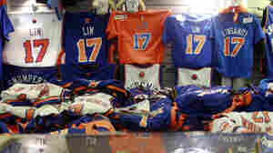 Jeremy Lin items are for sale before the basketball game between Lin's New York Knicks and the Sacramento Kings on Wednesday in New York.