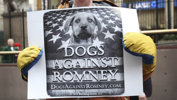"""A man holds a sign during a """"Dogs Against Romney"""" demonstration outside the 136th Westminster Kennel Club Dog Show at New York's Madison Square Garden, on Tuesday.  (Reuters/Landov)"""