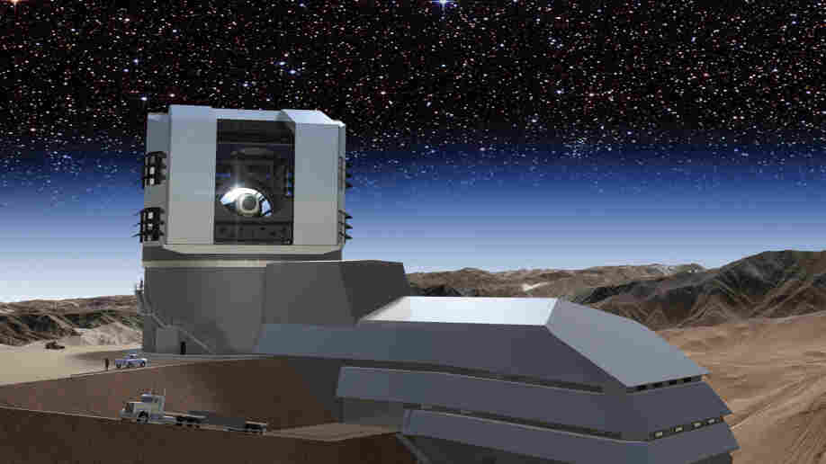 "The Large Synoptic Survey Telescope, seen in this artist's rendering, will be built on the peak of the Cerro Pachon mountain in Chile and will survey every patch of the night sky. The data the telescope will collect will allow researchers to ""answer fundamentally different questions about the universe,"" says one astronomer."