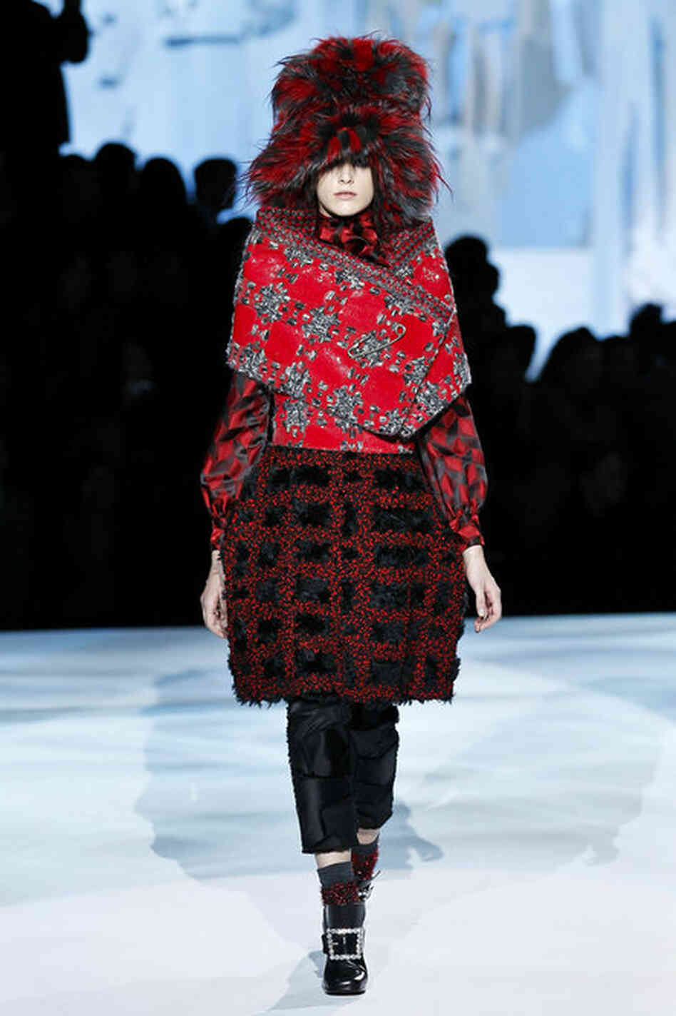 "The textures, colors and patterns in the Marc Jacobs designs don't ""cater to the usual ideas of sexiness or power-dressing,"" Singer says. It's more about pleasure: ""Pl"