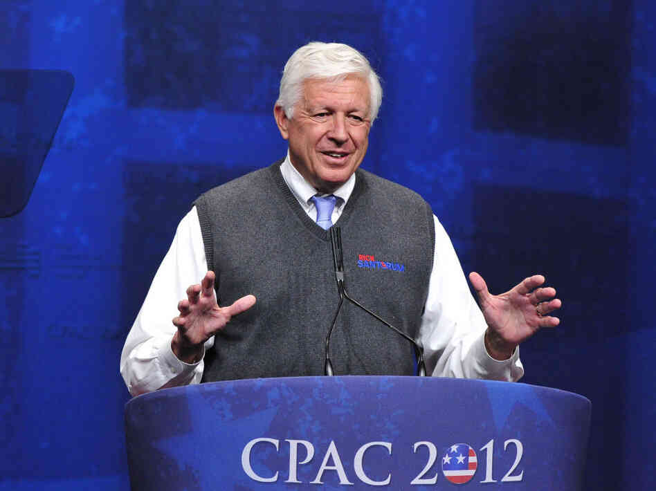 Foster Friess introduces Rick Santorum at the 2012 CPAC Conference in Washington, D.C. on Feb. 10.