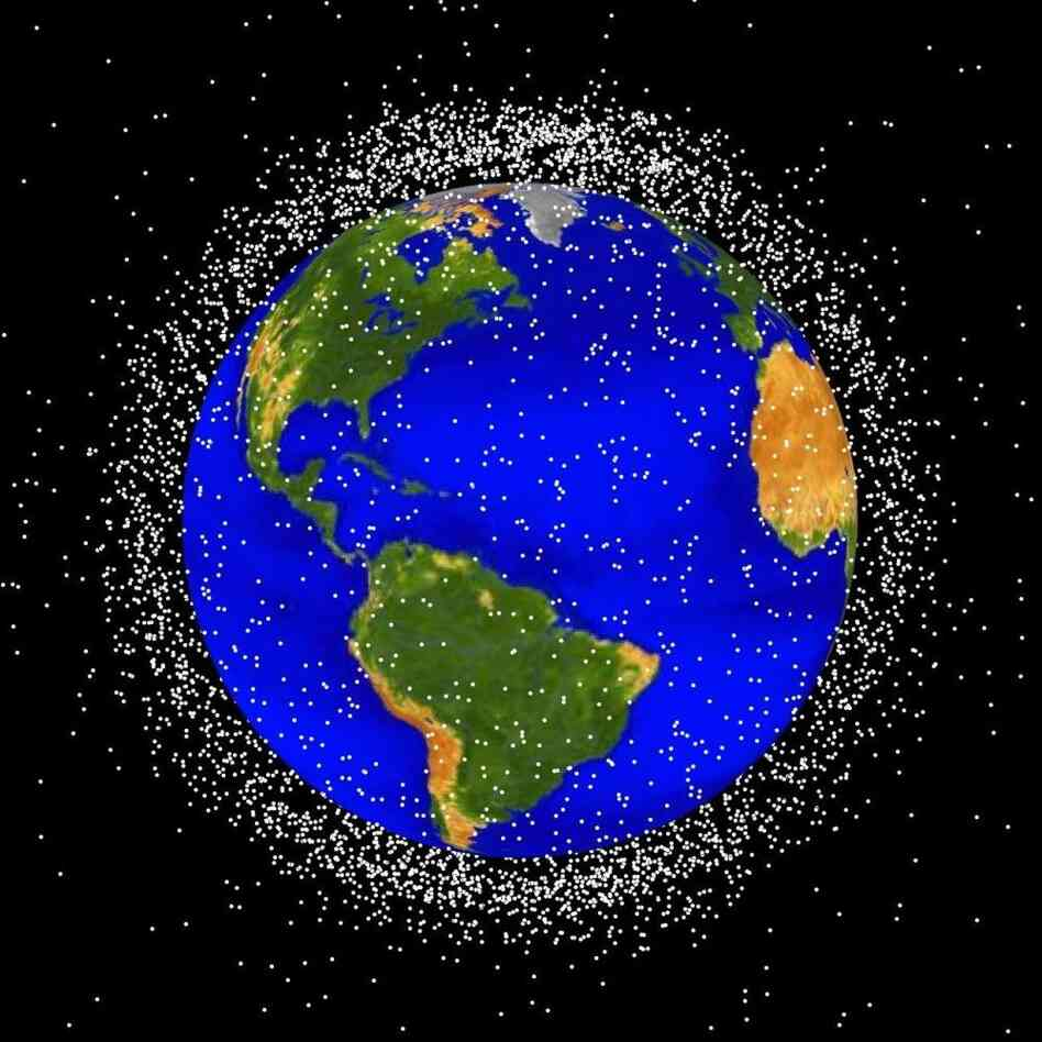 "A rendering of items currently in Low Earth Orbit. According to NASA, ""approximately 95 percent of the objects in this illustration are orbital debris, i.e., not functional satellites. The dots represent the current location of each item. The orbital debris dots are scaled according to the image size of the graphic to optimize their visibility and are not scaled to Earth."""