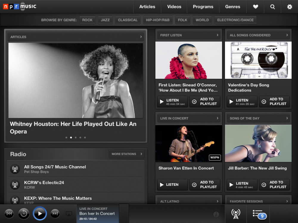 NPR Music for iPad: Home