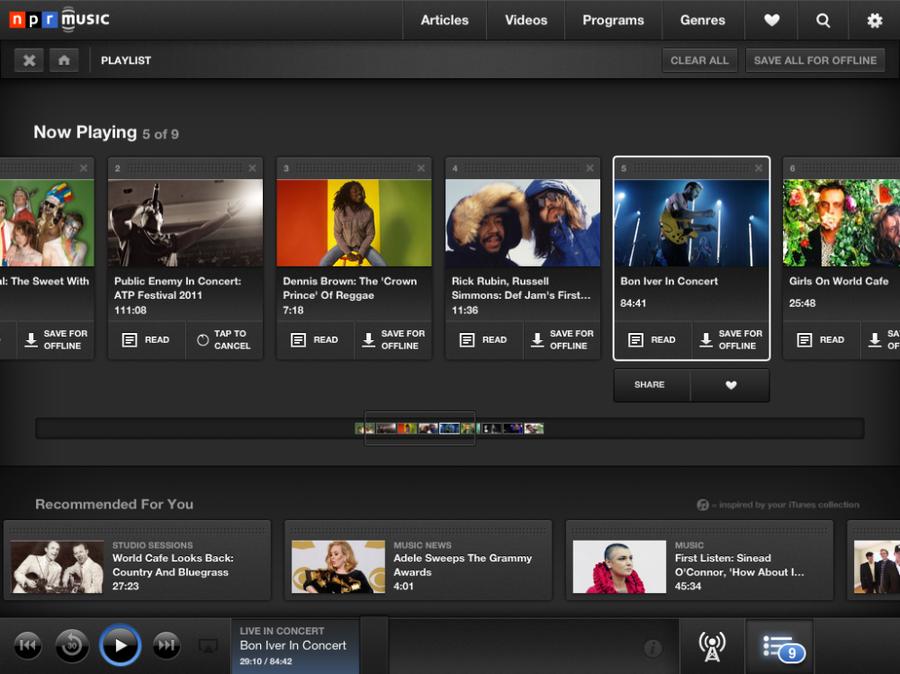 NPR Music for iPad: Playlist