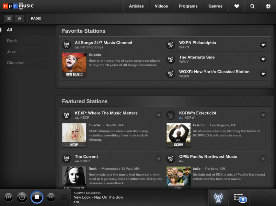 NPR Music for iPad: Stations