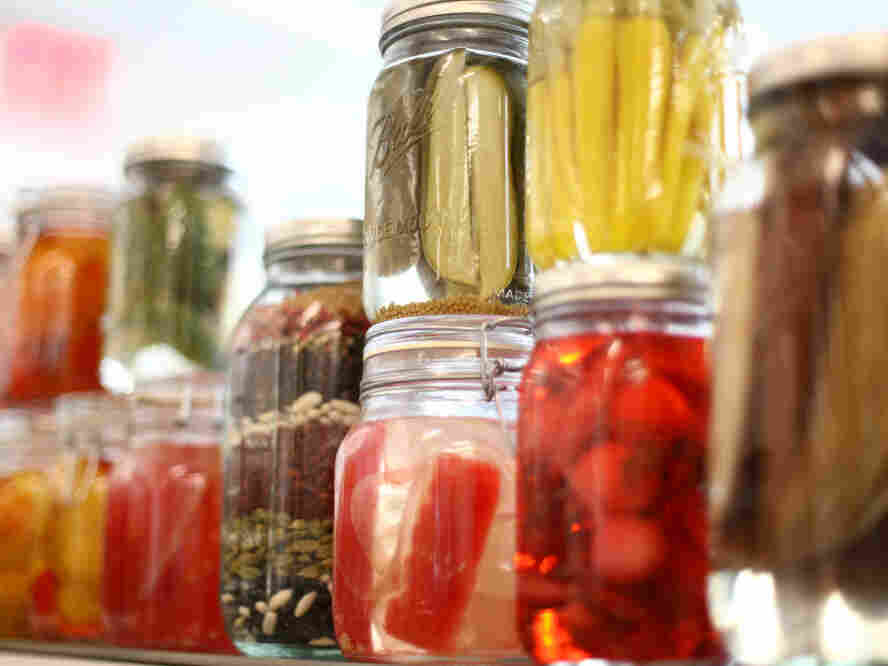 NEW YORK, NY - APRIL 07: A view of pickling jars at the launch of the new fifth floor event space at The International Culinary Center on April 7, 2011 in New York City.
