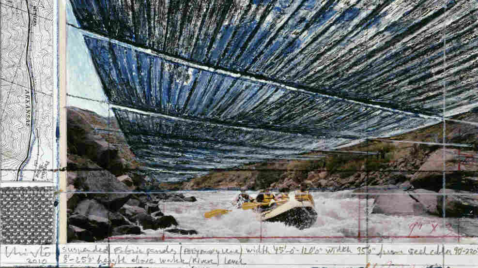 Artist Christo finances his projects by selling design drawings like this one, a preparatory sketch for the Over the River project on Colorado's Arkansas River.