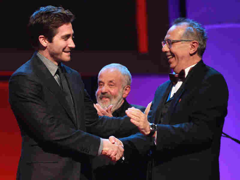 Jury members Jake Gyllenhaal, Mike Leigh, and festival director Dieter Kosslick attend the Opening Ceremony of the Berlinale.