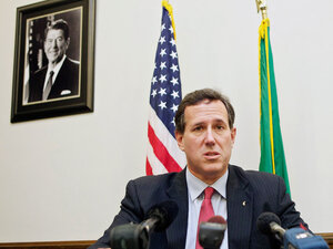 Rick Santorum speaks to the media Feb. 13, 2012 at the state capitol in Olympia, Washington.