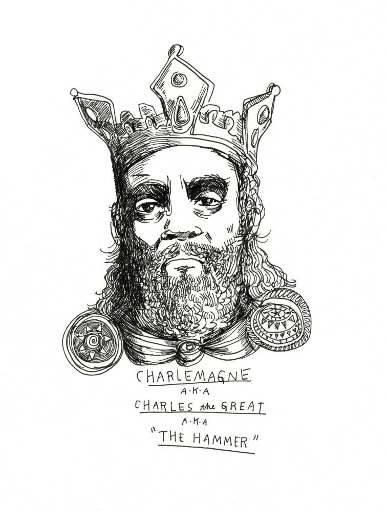 A drawing of Charlemagne, King Charles, The Hammer by Wendy MacNaughton
