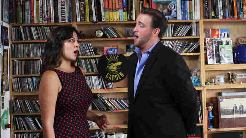 Joyce El Khoury and Brian Jadge perform a Tiny Desk Concert at the NPR Music offices.