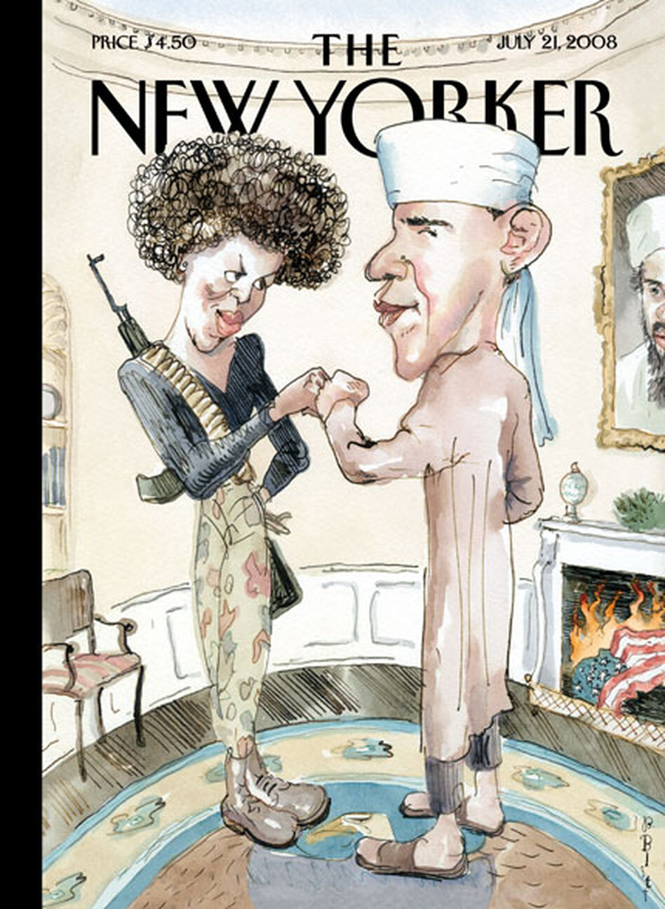 "Barry Blitt's controversial ""Politics of Fear"" ran on the cover of The New Yorker in July 2008. ""It was obviously taking a chance,"" Blitt says. (Courtesy The New Yorker)"