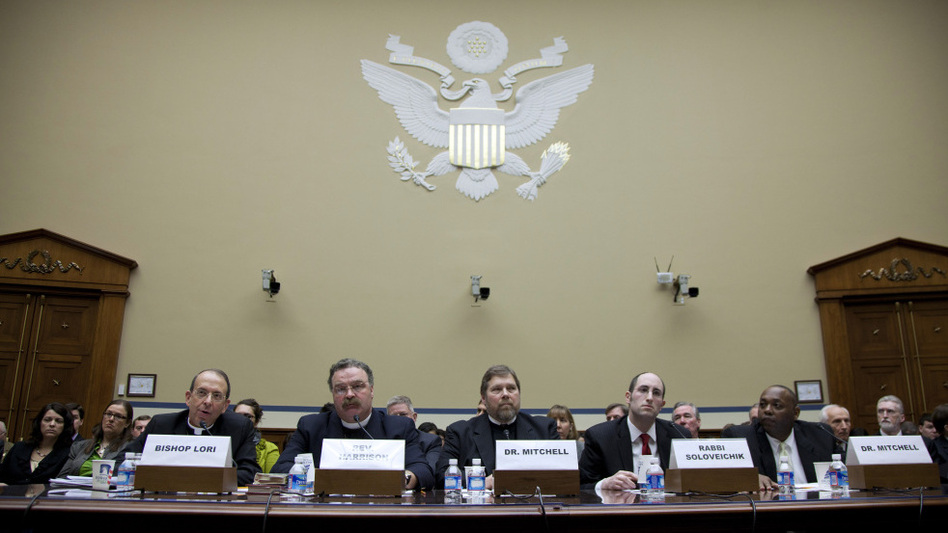 A House panel heard testimony about conscience and religious freedom Thursday from (left) Rev. William E. Lori, Catholic Bishop of Bridgeport, Conn.; Rev. Dr. Matthew C. Harrison, president, The Lutheran Church Missouri Synod; C. Ben Mitchell, Union University; Rabbi Meir Soloveichik, Yeshiva University; and Craig Mitchell, Southwestern Baptist Theological Seminary.   (AP)
