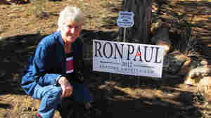 Karen Johnson, from Linden, Ariz., supports the candidacy of Ron Paul. She says Mitt Romney shares her faith, but not her politics.