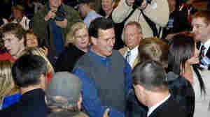 Republican presidential candidate, former Pennsylvania Sen. Rick Santorum works the crowd at the Tioga Public School on Wednesday in Tioga, N.D.