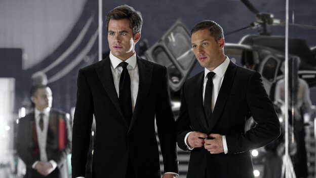 Gods Of Carnage: CIA agents FDR (Chris Pine, left) and Tuck (Tom Hardy) suit up to complete a covert mission. Their friendship is strained when they fall for the same woman.