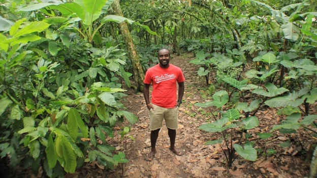 NPR producer John Asante visits the Tetteh Quarshie Cocoa Farm in the eastern region of Ghana during his first trip to the West African nation.  (Martin Ackon)