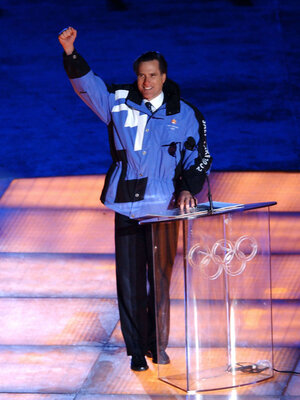 Mitt Romney at the opening ceremony of the 2002 Winter Olympics in Salt Lake City.