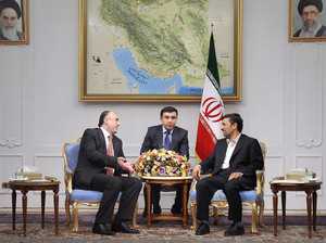 Iranian President Mahmoud Ahmadinejad (right) meets with Azerbaijan's foreign minister, Elmar Mammadyarov (left) in Tehran in March 2011. Tensions have been growing between the countries, including a recent incident in which Tehran summoned the Azerbaijani ambassador to protest alleged Israeli intelligence activity in Azerbaijan.