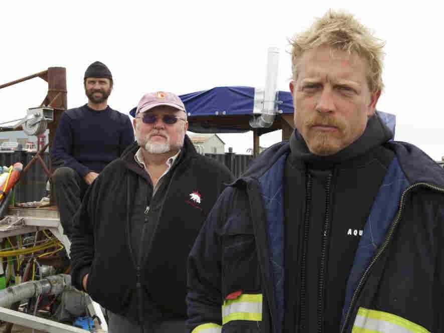 The Wild Ranger crew of Bering Sea Gold: Steve Riedel, owner Vernon Adkison and Captain Scott Meisterheim.