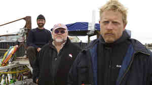 The Wild Ranger crew of Bering Sea Gold: Steve Riedel, owner Vernon Adkison and Captain Scott Meisterheim.