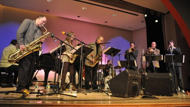 The Either/Orchestra at the New School in New York City from left to right: Charlie Kohlhase, Hailey Niswanger, Russ Gershon, saxophones; Joel Yennior, trombone; Tom Halter and Dan Rosenthal, trumpets; Gilson Schachnik, piano; Rick McLaughlin, bass; Pablo Bencid, drums; Vicente Lebron, percussion.