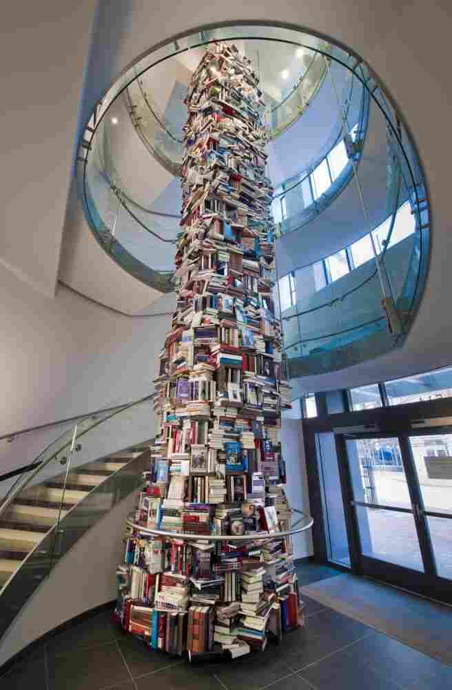 The Abraham Lincoln book tower stands 34 feet tall and 8 feet around in the lobby of the new Ford's Theatre Center for Education and Leadership in Washington, D.C. Click here to see the tower from the top down.