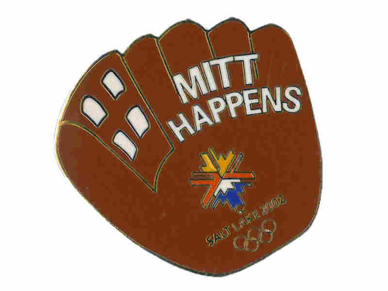 "The ""Mitt Happens"" pin, with a baseball mitt."