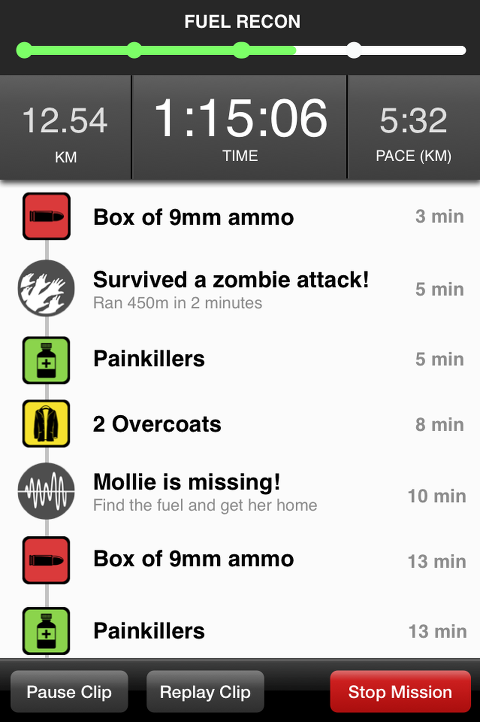 In addition to escaping hungry zombies, the app challenges the runner to collect supplies and accomplish objectives.
