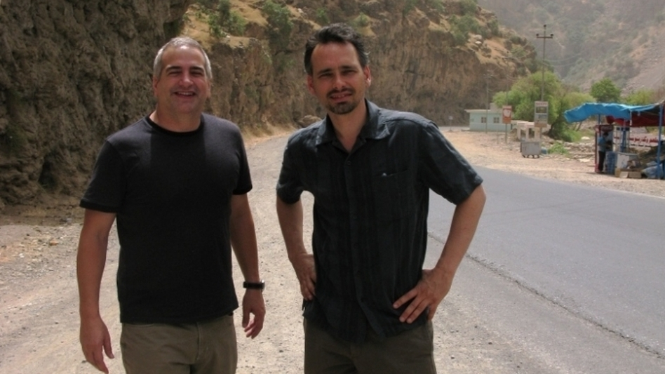 Quil Lawrence met Anthony Shadid in Afghanistan in the winter of 2001. Here, Shadid (left) and Lawrence are seen on a trip to Iraqi Kurdistan in summer of 2009. (NPR)