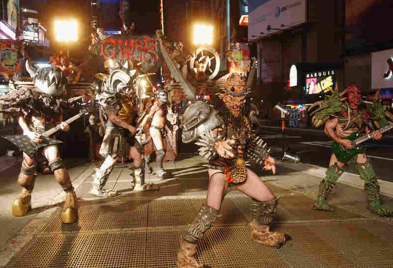 Mask-wearing can blur into full-time theatricality. Legendary heavy metal band GWAR films a video for their new album War Party in Times Square in New York.