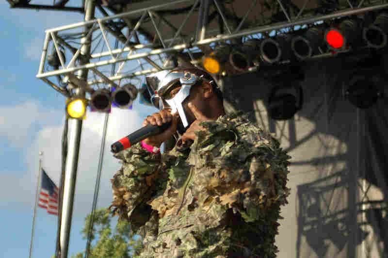 The mask worn by DOOM, shown here at the 2009 Pitchfork Music Festival in Chicago, is so closely-identified with the rapper's persona that he has been known to send doppelgangers wearing the mask on stage to lip-sync to his songs.