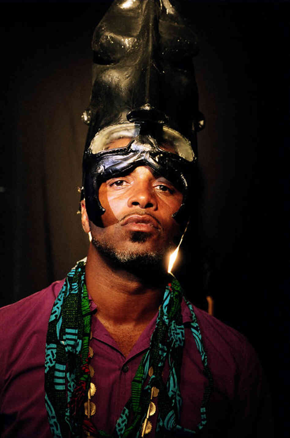 Palaceer Lazaro (a.k.a. Ishmael Butler) of Shabazz Palaces in a headdress made by Seattle artist Maikoiyo Alley-Barnes.