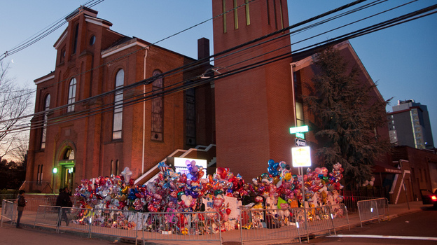 A makeshift memorial is seen prior to the funeral services for Whitney Houston at the New Hope Baptist Church in Newark, New Jersey on Saturday.  (Getty Images)