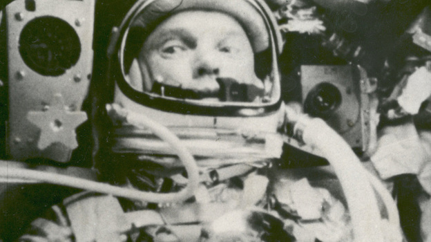 An image captured on Feb. 20, 1962, by NASA shows astronaut John Glenn during his space flight in the Friendship 7 Mercury spacecraft, weightless and traveling at 17,500 mph. The image was made by an automatic sequence motion picture camera. (AP)
