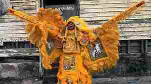 A portrait of a Mardi Gras Indian