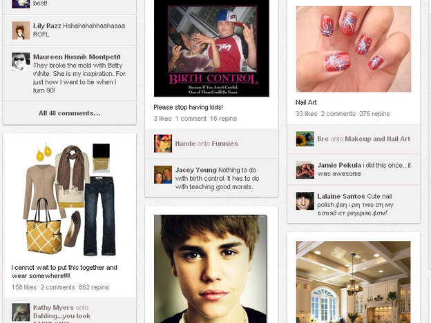 """A visit to the Pinterest homepage typically reveals images of makeup, women's fashions — and the occasional """"pin"""" of Justin Bieber."""