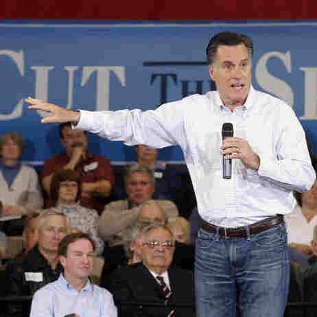 Republican presidential candidate Mitt Romney speaks at a town hall meeting at Eagle Manufacturing Corp. in Shelby Township, Mich., on Tuesday.