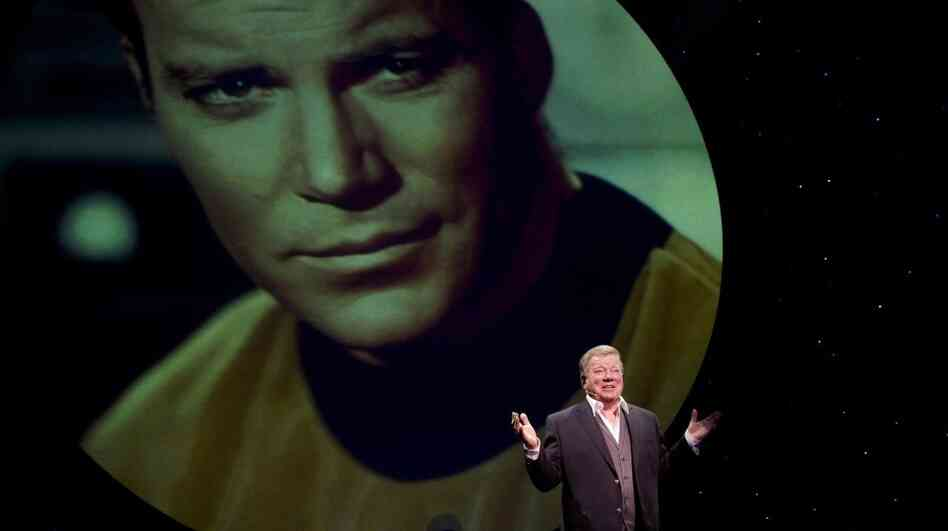 William Shatner in Shatner's World: We Just Live In It on Broadway at the Music Box Theatre. In the 90-minute show, Shatner illustrates some of his stories with photos and video clips.