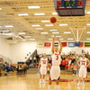 Senior Cory Weissman (center) of Gettysburg College, takes his second free-throw shot in a Division III Centennial Conference game against Washington College.