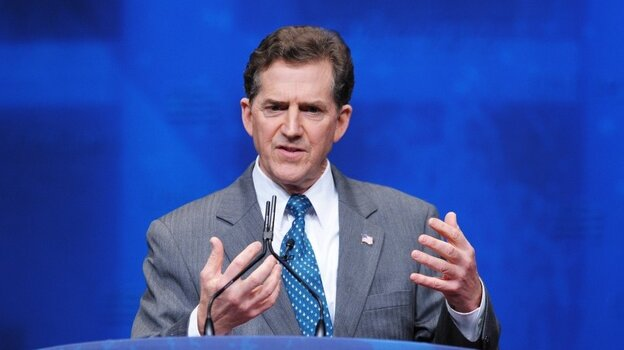 """Republican Sen. Jim DeMint of South Carolina, shown here speaking at the Conservative Political Action Committee in Washington, D.C., on Feb. 9, has said of this year's presidential race: """"It's not about politics."""""""