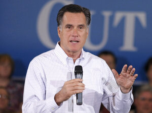 Republican presidential candidate Mitt Romney speaks during a town hall meeting campaign stop on Feb. 21, 2012 in Shelby Township, Michigan. The race between Rick Santorum and Romney is a part of a larger battle for the direction of the GOP.