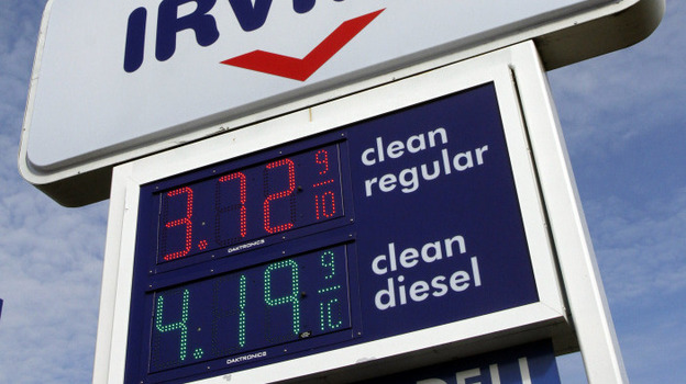A gas station in Berlin, Vt., sold gas for $3.72 on Feb. 16. On average, regular gas is going for $3.60 a gallon nationwide.  (AP)