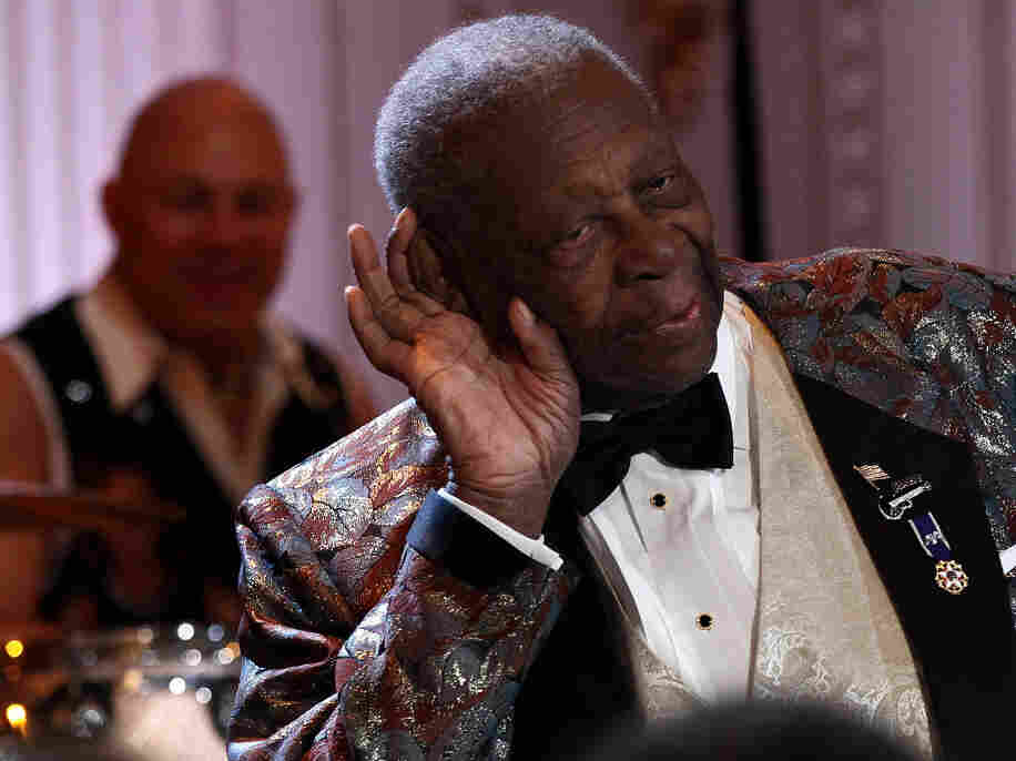 Blues legend B.B. King during last night's performance at the White House.