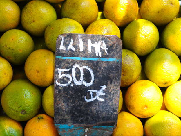 Oranges for sale at a market in Rio de Janeirol.